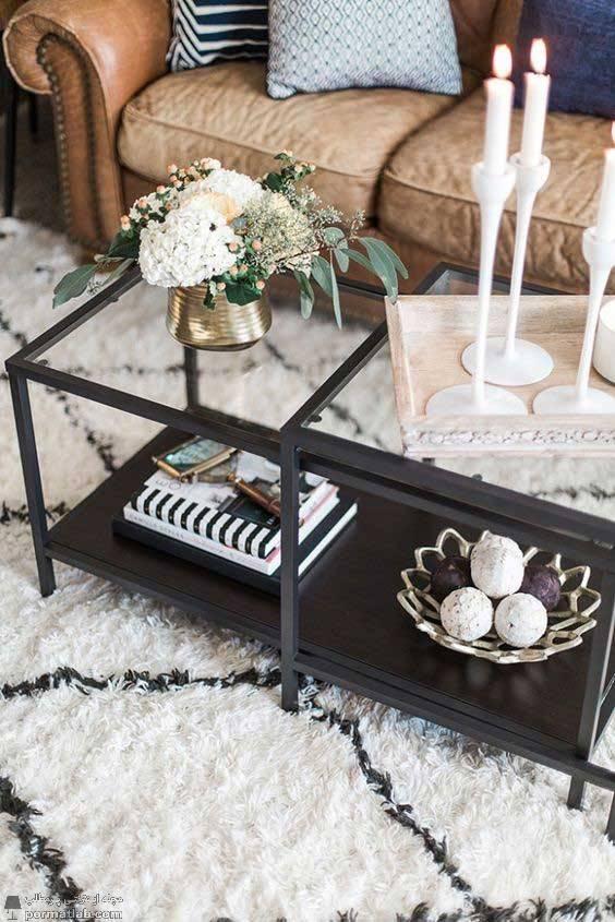 تزیین زیر میز شیشه ای عناصر تزیینی و آنتیک