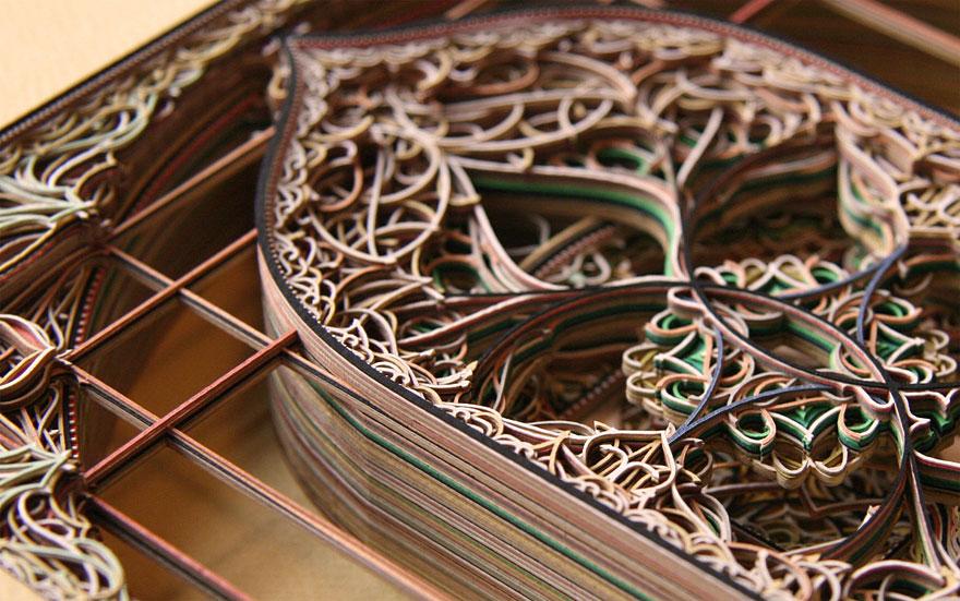 برش لیرزی لایه های کاغذهای رنگی