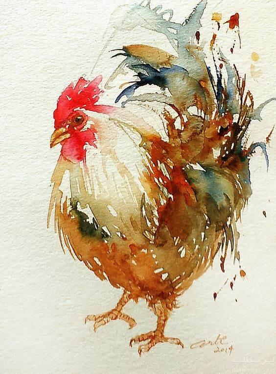تصاویر نقاشی شده از خروس