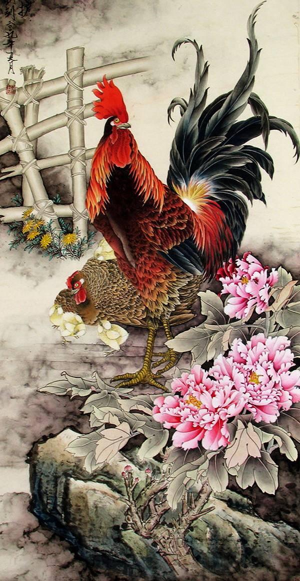 تصاویر نقاشی شده از مرغ و خروس