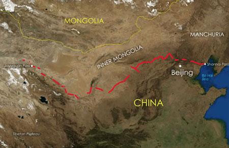 نقشه هوایی از دیوار چین